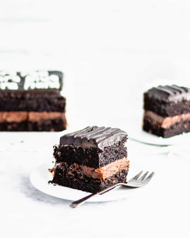 slice of chocolate cake in the foreground with blurred slices in the background