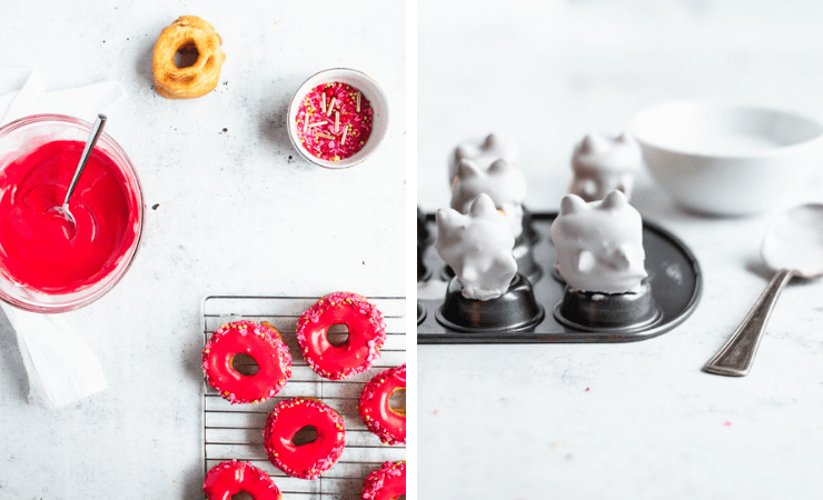 Step-by-step photos for making pusheen donuts