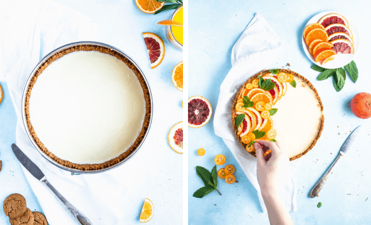 Step-by-step photos for making gingersnap tangerine tart