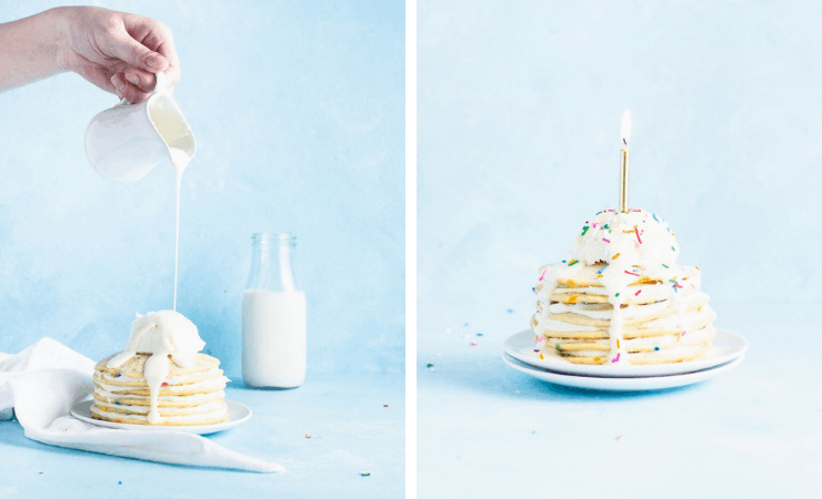 Step-by-step photos for making birthday pancakes