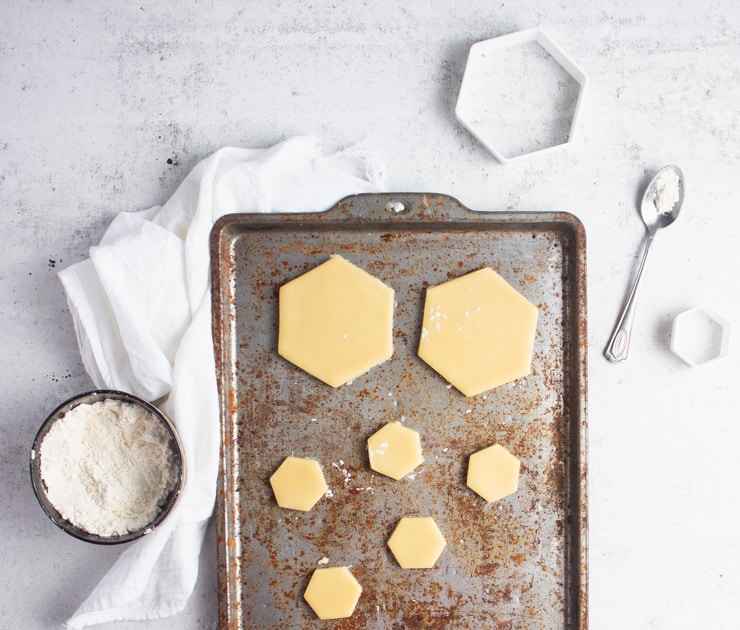 cookie tray with cut out cookies
