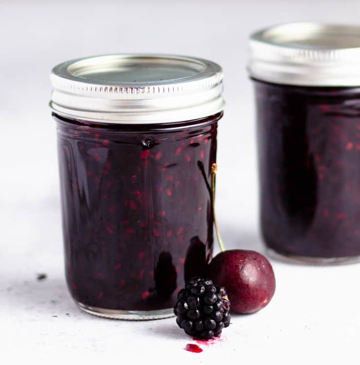 two jars of jam close up