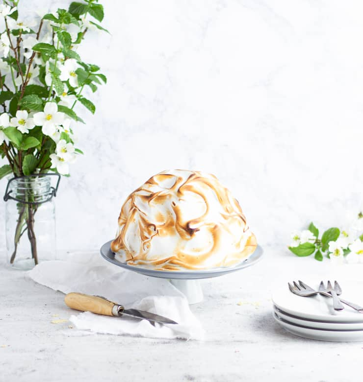 baked alaska cake with flowers, knife and plates in the background
