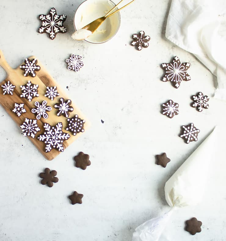 decorated chocolate gingerbread cookies on a white backdrop