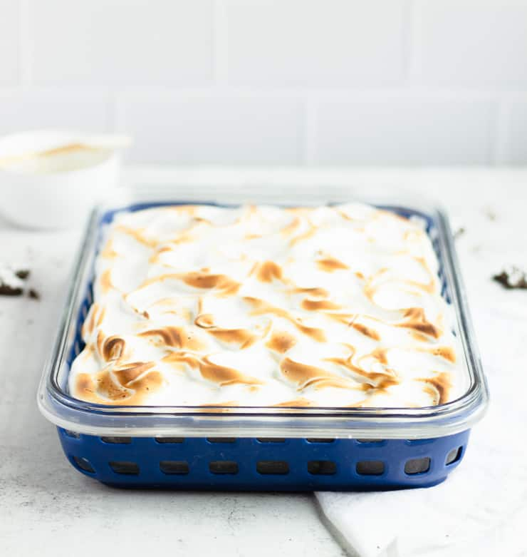 close up of toasted meringue frosting