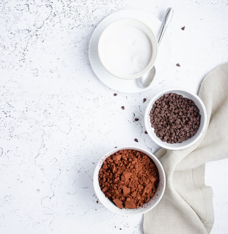 flatlay of ingredients for chocolate cake