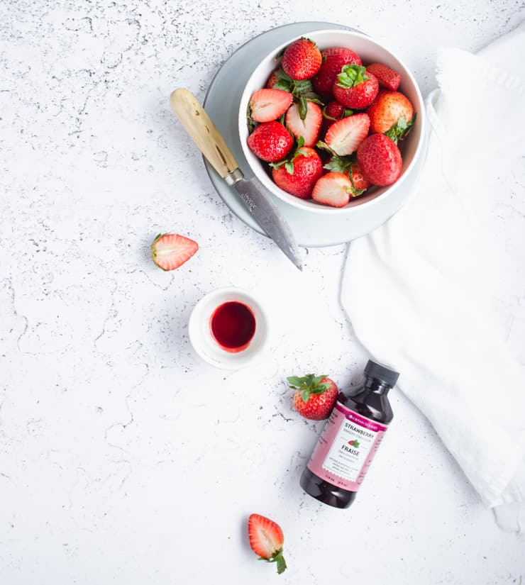 flatlay of ingredients for strawberry cake