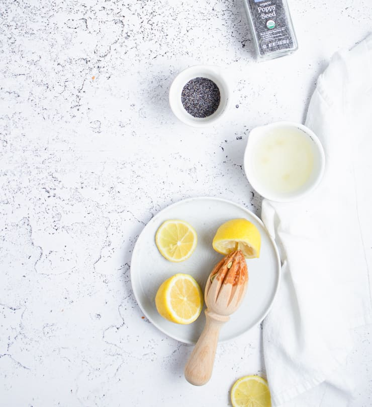 flatlay of ingredients for lemon poppy seed cake
