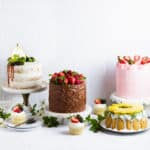 four cakes plus cupcakes lined up in front of a white tile backdrop