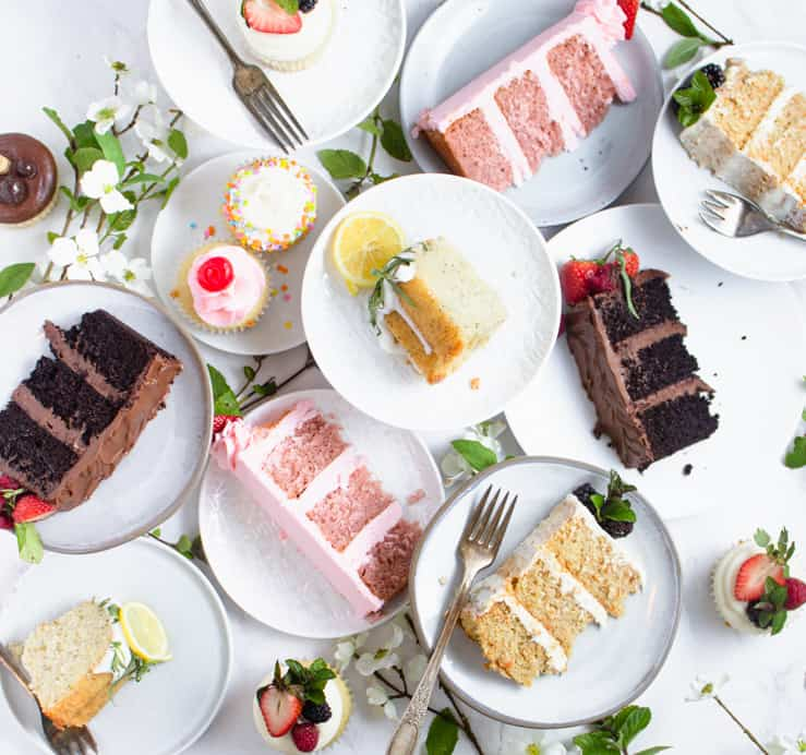 flatlay of sliced pieces of cake
