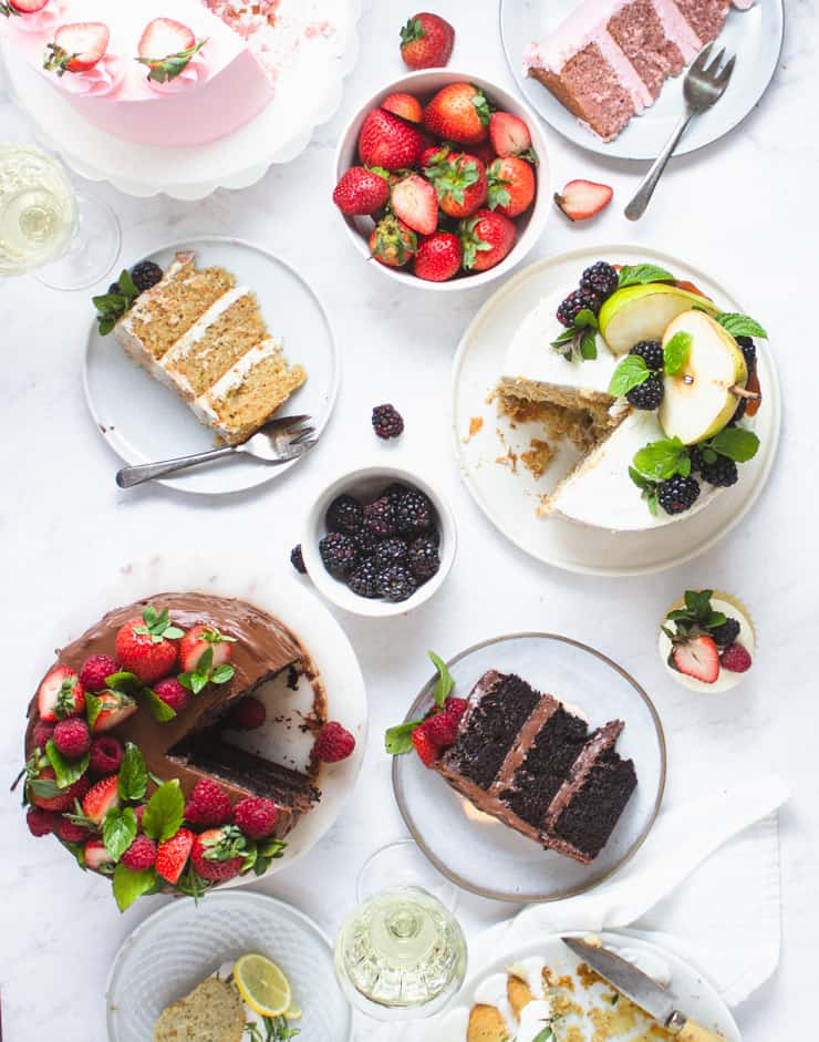 flatlay of cakes and slices
