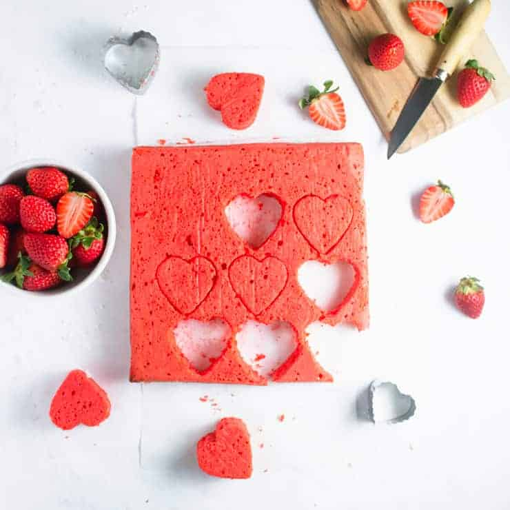 strawberry pound cake cut out as hearts