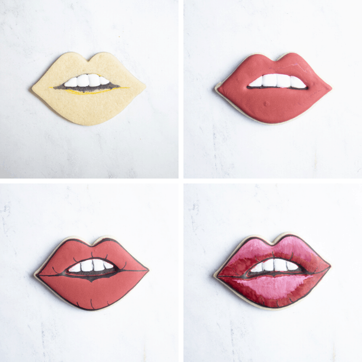 collage of lip cookie process