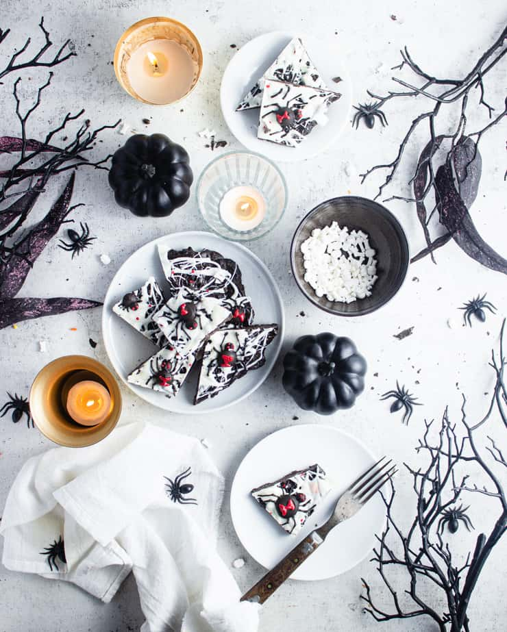 overhead shot of plated spider candy bark