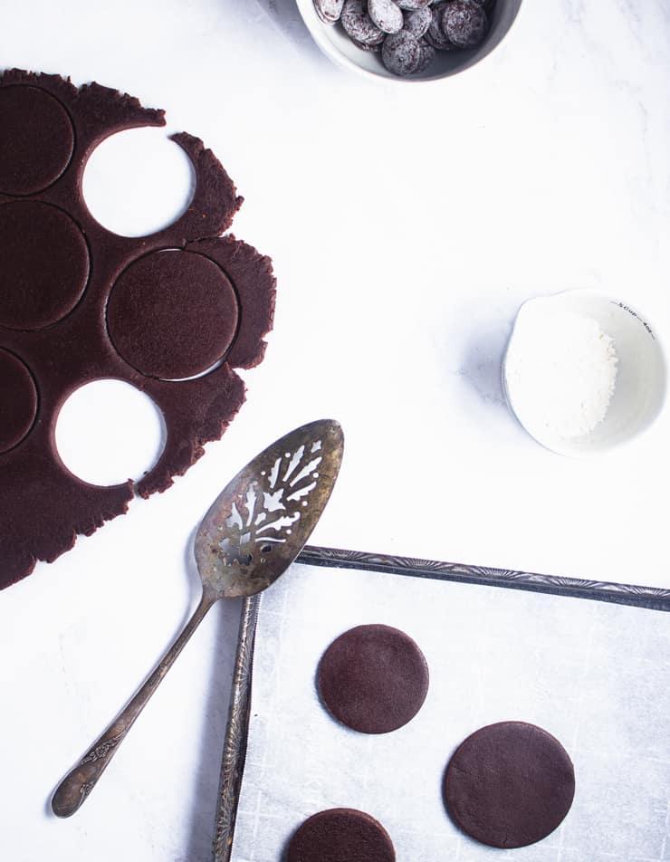 unbaked chocolate sugar cookies